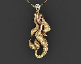 mermaid whit shell 3D printable model