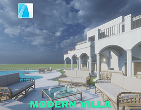 Modern Villa with Private Pool on Beachfront 3D asset 2