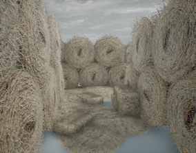 3D model Realistic Hay Bale Pack