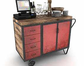 Red Industrial Metal Cupboard waiter station loft style 1