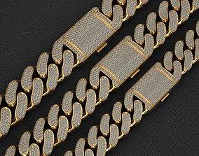 3 SIZE MIAMI CUBAN LINK CHAIN NECKLACE BRACELET 3D model