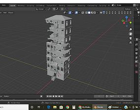 destroyed post apoclptic building 3D model