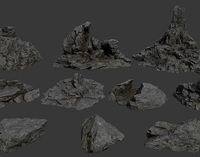 3D model VR / AR ready moss rocks