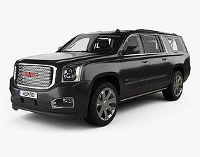 3D GMC Yukon XL Denali with HQ interior and engine 2014