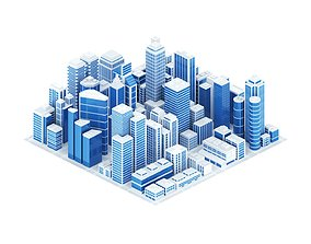 3D asset Abstract skyscrapercity