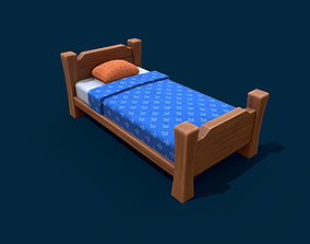 3D asset Stylized Wooden Bed With Blue Blanket