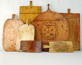 Antique Cutting Boards and Knife 3D