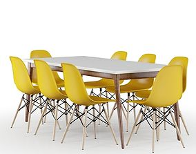 Set Modern Table and Yellow Eames Chairs 3D