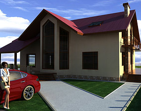 3D luxury house with a red car