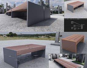 Park Bench 8 Teak Gray Metal Frame 3 3D asset