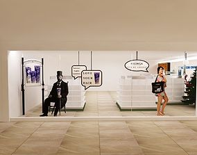 cosmatic showroom glass front 3D model