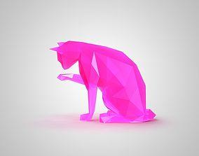 animal 3D print model low poly cat 2
