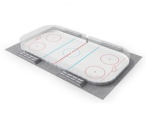 3D Hockey Arena White And Gray