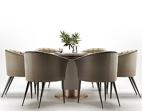 fabric 3D model Modern dining table and chair