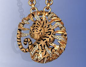3D print model Tiger Necklace Carrera Bamboo with Enamel 1