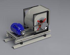 Fan with Belt Pulley Motor 3D asset