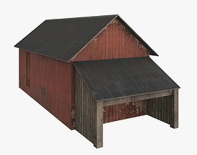 Old wood barrack low poly 3D asset game-ready