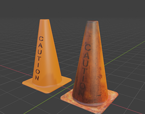 3D model realtime Clean and Dirty Caution Traffic Cones