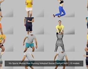 10x Sports Woman Man Running Volleyball Soccer 3D model 1