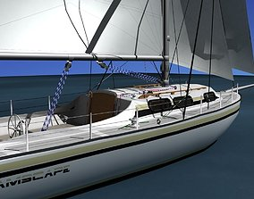 34 Ft Cutter Sailboat 3D