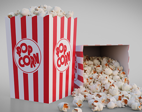 3D Popcorn Box Cartoon