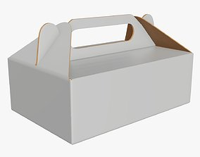 Gable box cardboard food packing 05 white 3D model