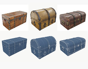 Collection of vintage chests 3D