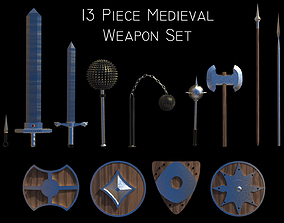 3D model 13 Piece Medieval Weapon and Shield Set