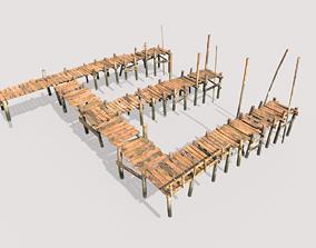 3D model Wooden Triple Pier