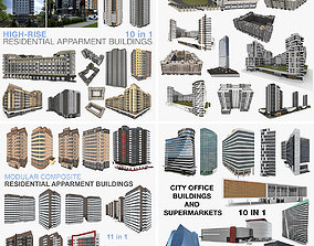 3D Collection City Residential and Office Buildings 4 in 1