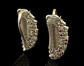 3D printable model dragon comb earrings