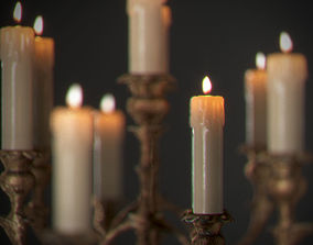 Candles on candlestick 3D