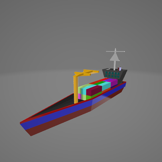 Low Poly Cargo Ship