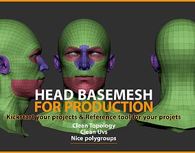 3D asset Head Basemesh for Production