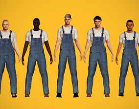 Workers characters pack 3D asset