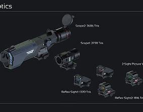 Scifi Modular Weapon Attachments 3D model