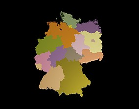 low-poly Germany 3D Map with states