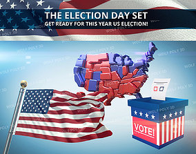 USA - Election Day Set Flag Map and Vote Box 3D model