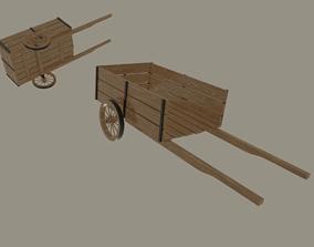 3D asset rigged Wooden Cart