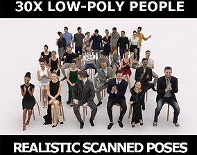 30x MAN WOMAN SITTING MAN ELEGANT CASUAL PEOPLE 3D asset 1