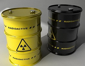 3D model Two barrels with radioactive materials