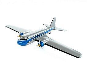3D model Blue Retro Passenger Plane