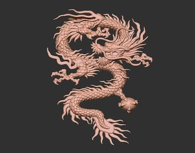 3D print model Chinese Dragon Relief