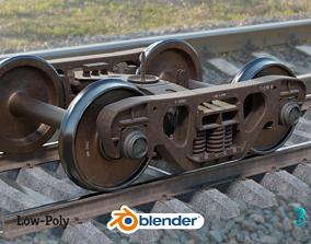 3D model Lowpoly Railway freight Bogie