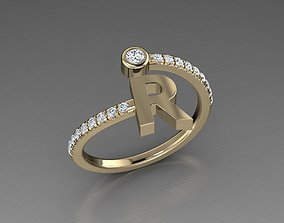 Jewelry Alphabet Diamond Ring R 3D print model