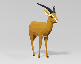 3D asset realtime Gazelle animal