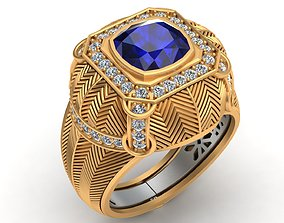 Mousson Atelier Topaz Diamond Gold Ring 3D print model