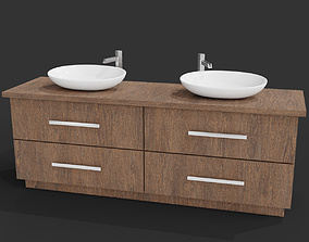 Wooden Sink Table with Drawers 3D model