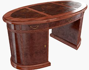 gorgeous Oval Mahogany Leather Top Desk 3D