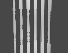 3D asset VR AR low-poly Balustrades for stairs and